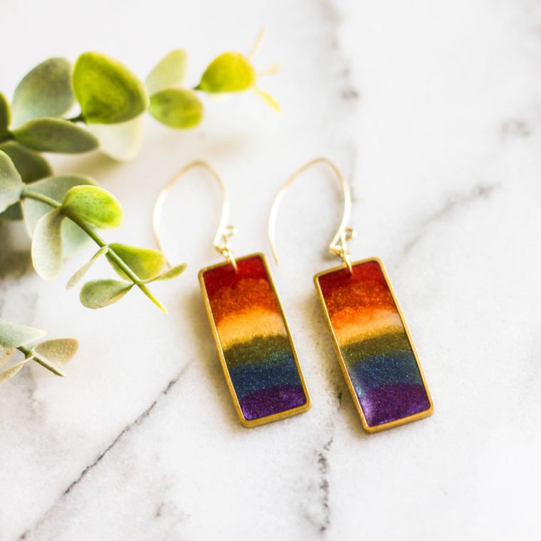 Rainbow Rectangle Brass Earrings