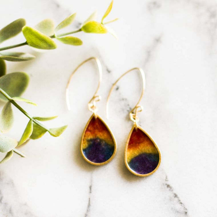 Rainbow Raindrop Brass Earrings