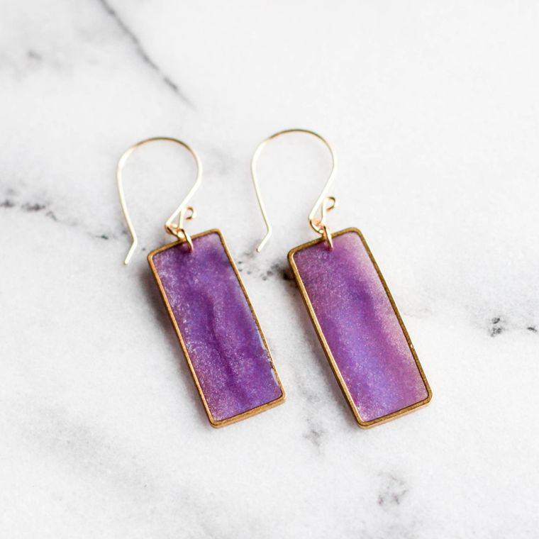 Amethyst Brass Rectangle Earrings