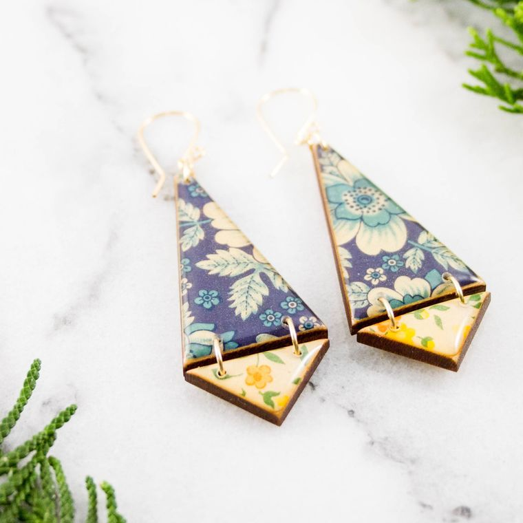 Double Triangle Earrings- Vintage Italian Florals