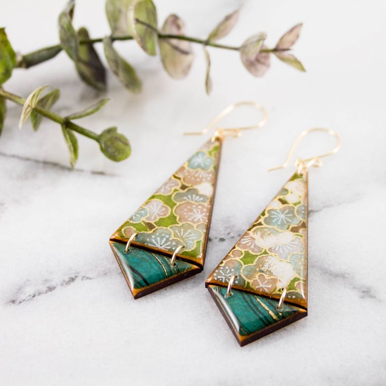 Japanese Double Triangle Earrings- Green Floral