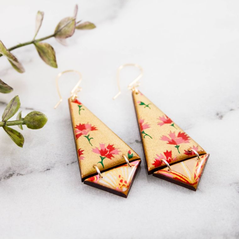 Japanese Double Triangle Earrings- Gold + Pink Floral