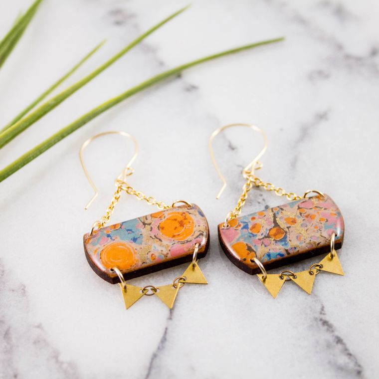 Festival Drop Earrings- Aqua + Orange Marble