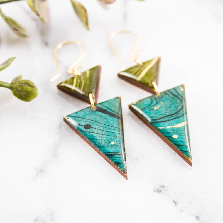 Japanese Stacked Triangle Earrings... Turquoise + Green