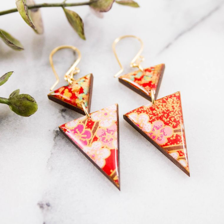Japanese Stacked Triangle Earrings... Red + Gold