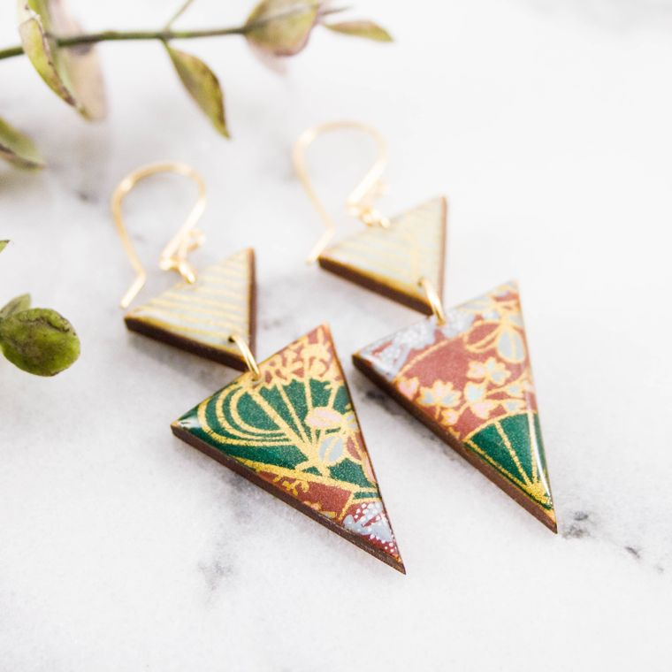 Japanese Stacked Triangle Earrings... Green Floral + Aqua