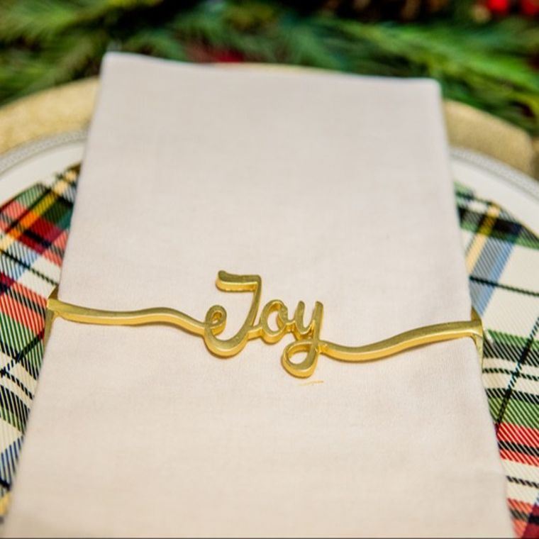 Joy Napkin Wrap, Matte Gold SET