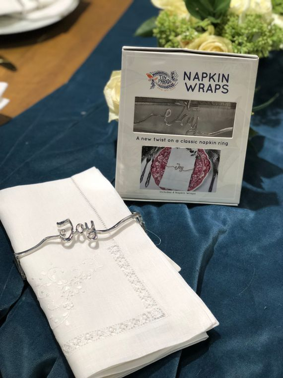 Joy Napkin Wrap, Shiny Silver SET
