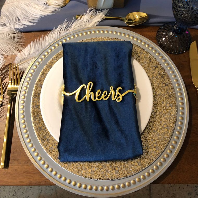 Cheers Napkin Wrap, Matte Gold SET