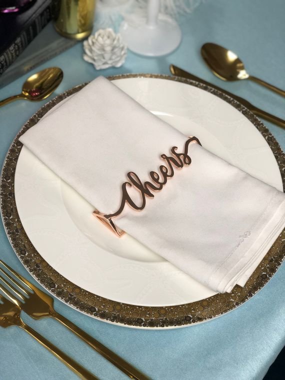 Cheers Napkin Wrap, Rose Gold SET