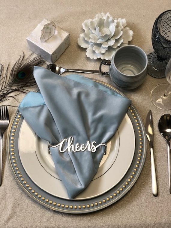 Cheers Napkin Wrap, Shiny Silver SET