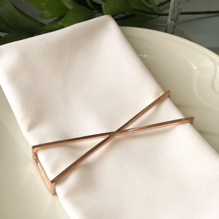 X Napkin Wrap, Rose Gold SET