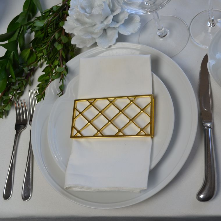 Large Trellis Napkin Wrap, Shiny Gold SET