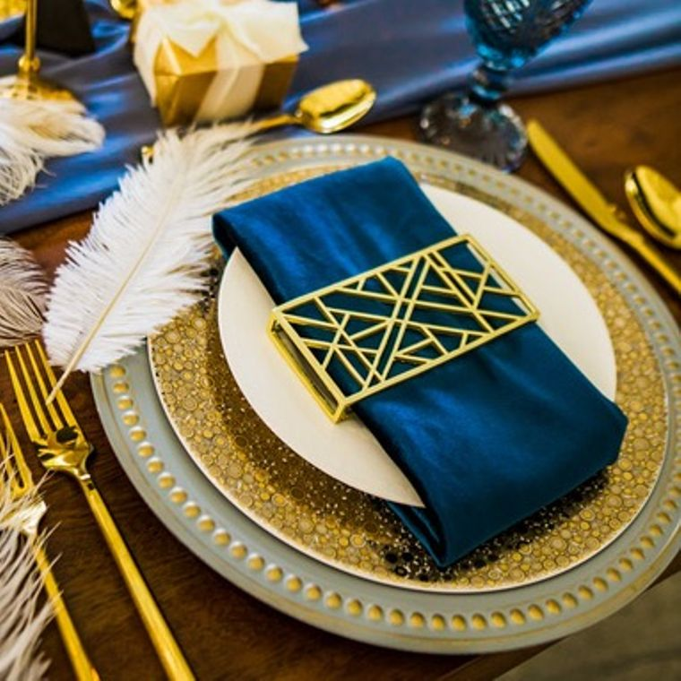 Abstract Napkin Wrap, Matte Gold SET