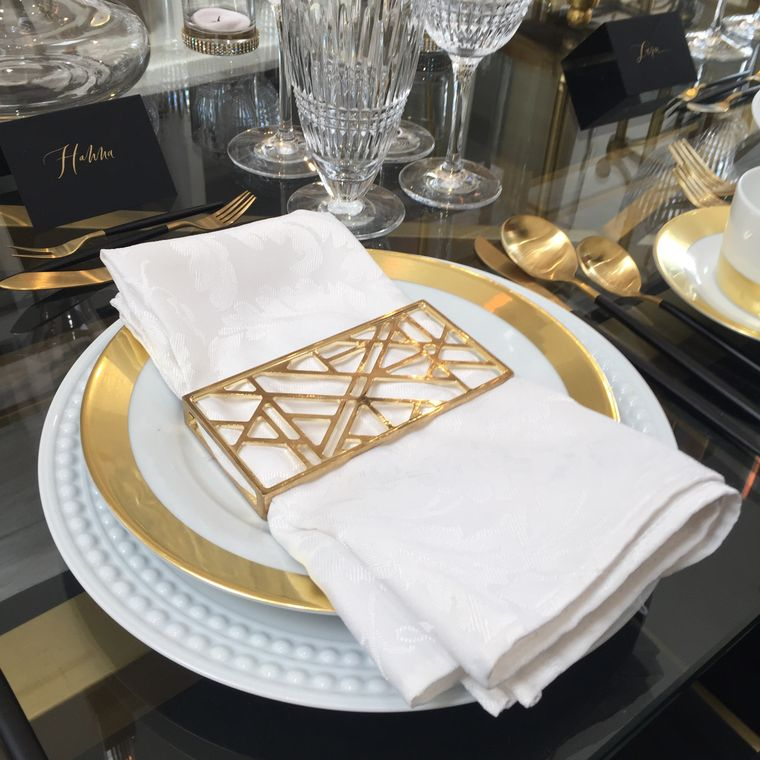 Abstract Napkin Wrap, Shiny Gold SET