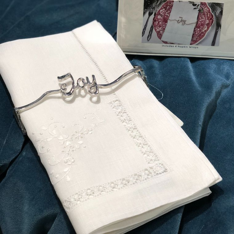 Joy Napkin Wrap, Shiny Silver Single