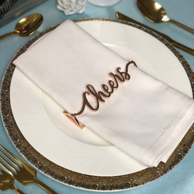 Cheers Napkin Wrap, Rose Gold Single