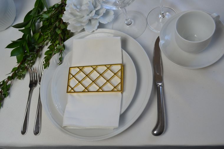 Large Trellis Napkin Wrap, Shiny Gold Single