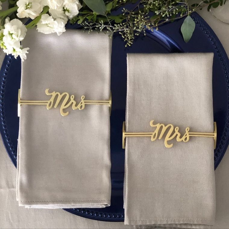 Mrs. & Mrs. Napkin Wrap, Matte Gold SET