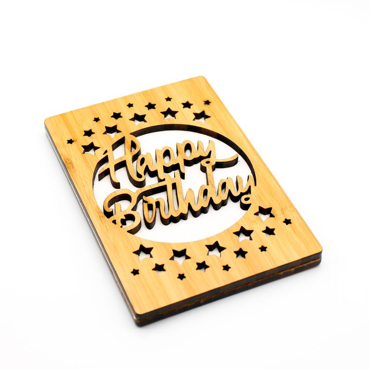 Happy Birthday Greeting Card, Made From Sustainable Bamboo