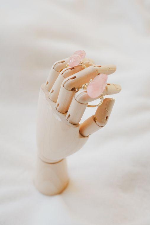 Rose Quartz Wrapped Ring