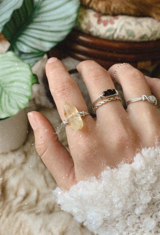 Sun Beam Quartz Wrapped Ring
