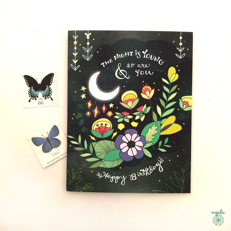Night is Young Greeting card - starry night card, forever young birthday card, flowers, floral, moon and stars paper goods