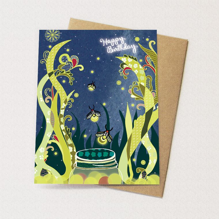 Fireflies Birthday Card - starry, firefly