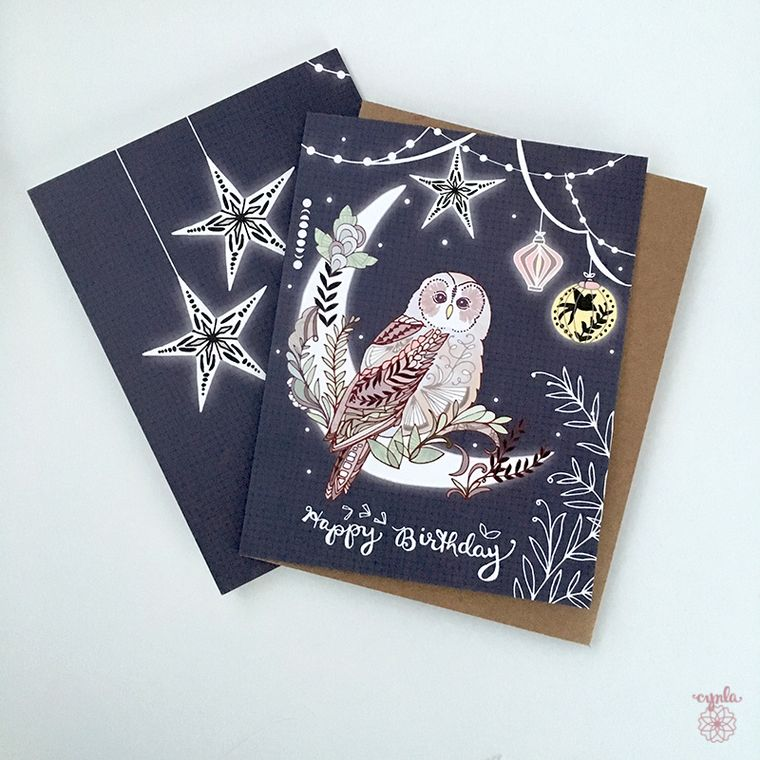 Owl Birthday Card - lantern owl greeting card, owl card, paper lanterns, pretty birthday cards, starry