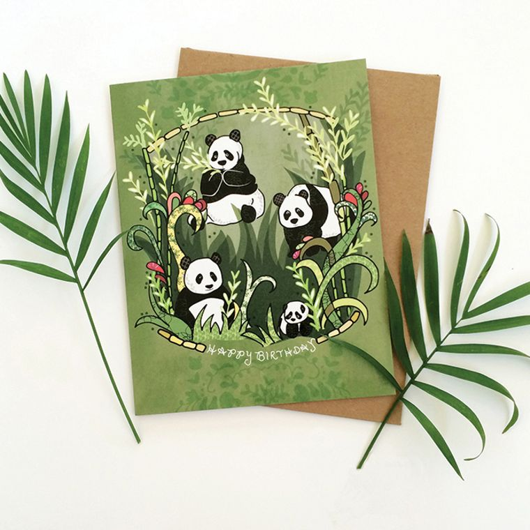 Panda Birthday Greeting Card - Panda birthday card, happy birthday pandas greeting cards, paper goods, panda cards