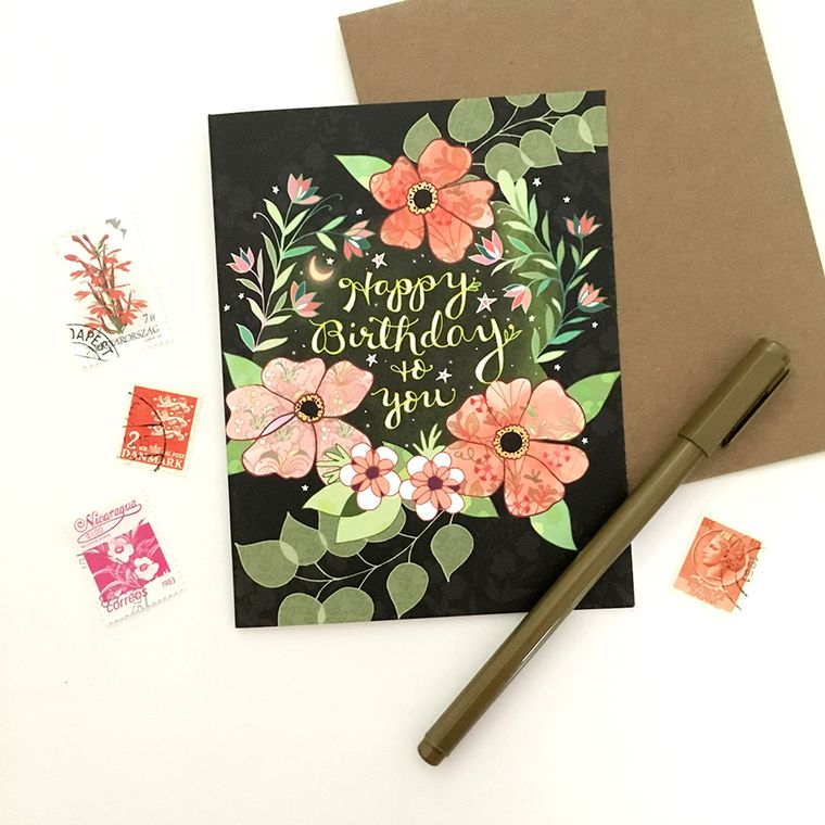 Starry Flower Birthday Card - flower greeting card, flower birthday card, garden card, starry night