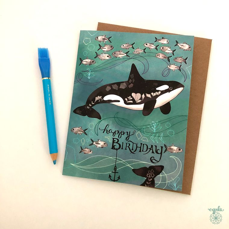 Orca Greeting card - killer whale card, orcas, birthday card, whale greeting cards, whales, orcas, whale birthday