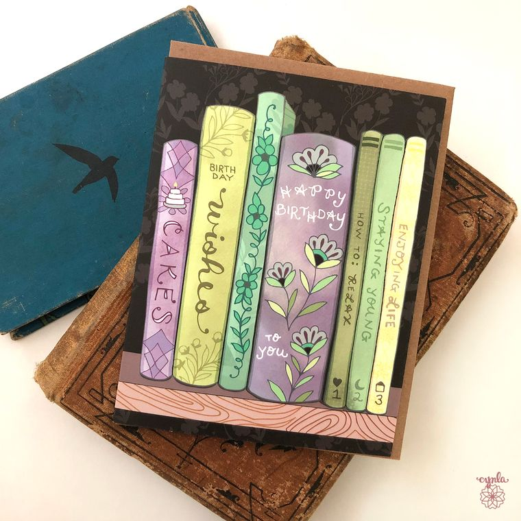 Bookshelf greeting card - book card, bookshelf card, library, book store cards