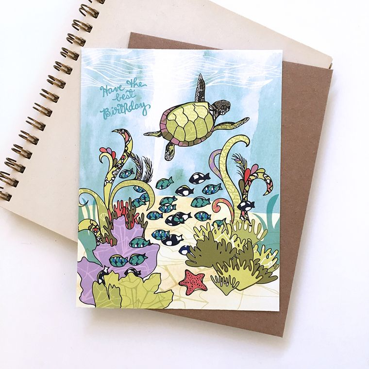 Turtle Happy Birthday Card - sea turtle, ocean greeting cards