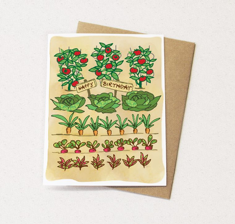 Vegetable Garden Card Veggie greeting card vegetables card greeting cards paper goods