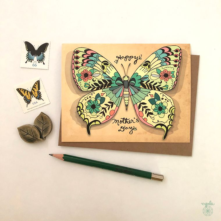 Mother's Day Card - Butterflies, butterfly greeting card mom