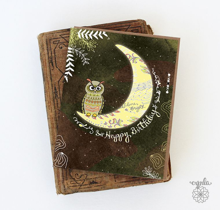 Owl Birthday Card - owl moon, Owl Greeting Cards, Owl & Moon Card, Owl Birthday