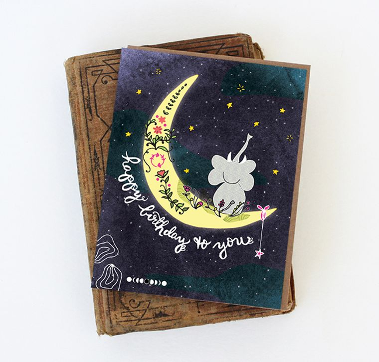 Elephant Greeting Cards - Elephant Moon Card Elephant card paper goods