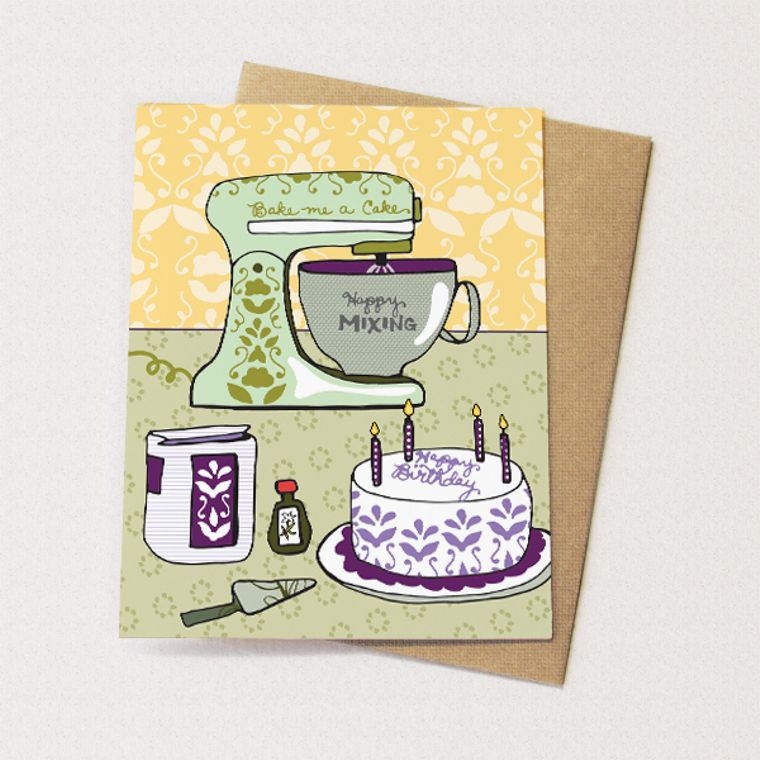 Mixer Card Birthday - i love my mixer, cake card