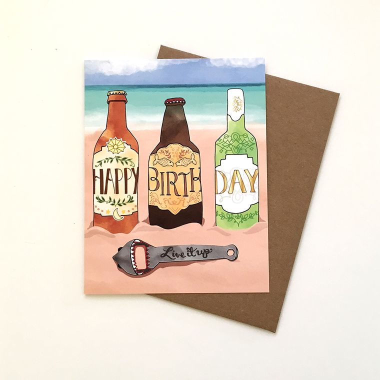 Beach Beer Card - Beer Greeting Card, stout, stella, beers, shark, beer opener, beach cards, paper goods, greeting cards, drink cards
