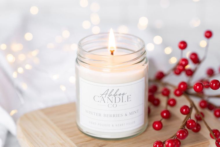 Winter Berries & Mint Soy Candle by Abboo Candle Co