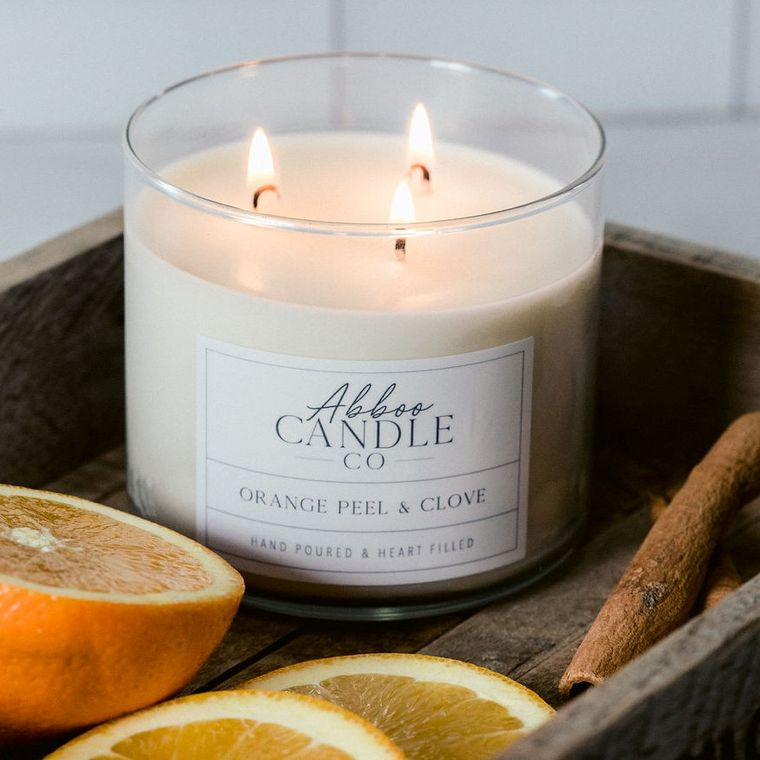 Orange Peel & Clove 3 Wick Soy Candle by Abboo Candle Co