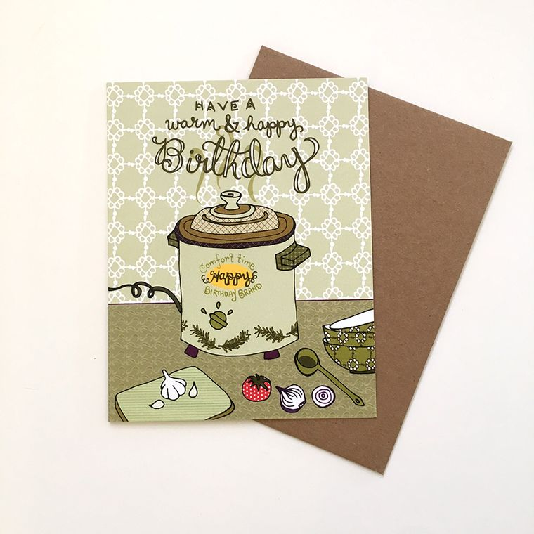 Crockpot Birthday Card - blank inside