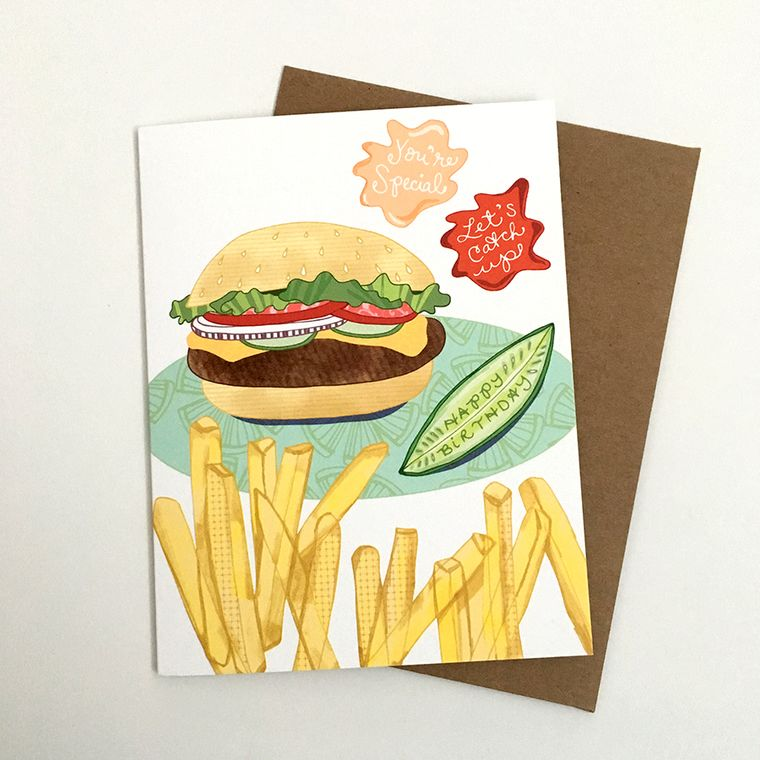 Cheeseburger Birthday Card - hamburger birthday card, cheeseburgers, food cards