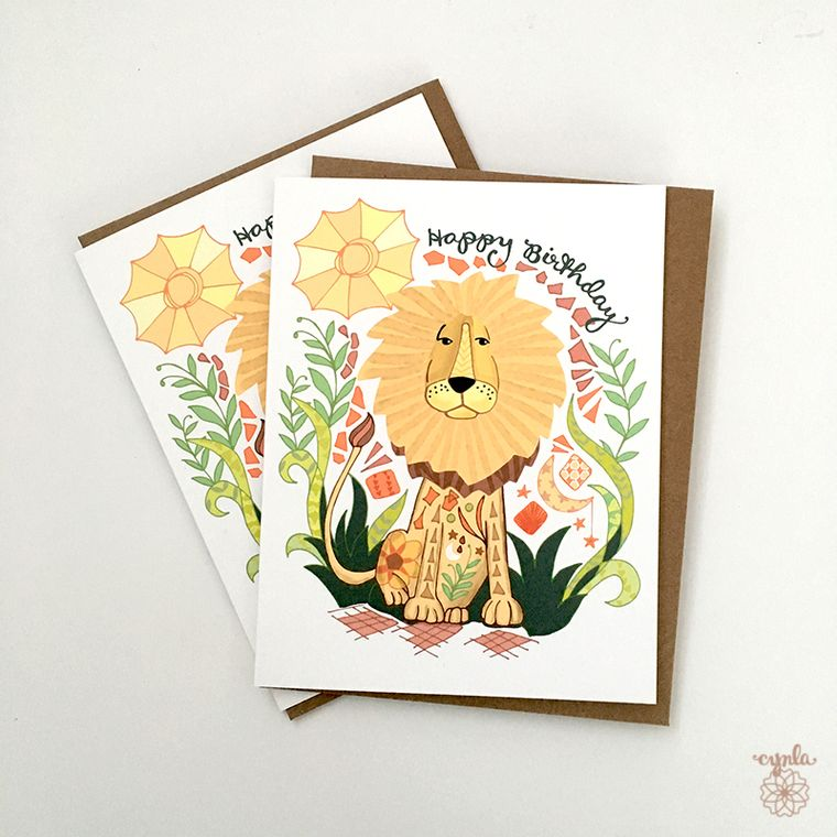 Sun Lion Birthday Card - lion greeting card, lion birthday card, sunny day, sun animals