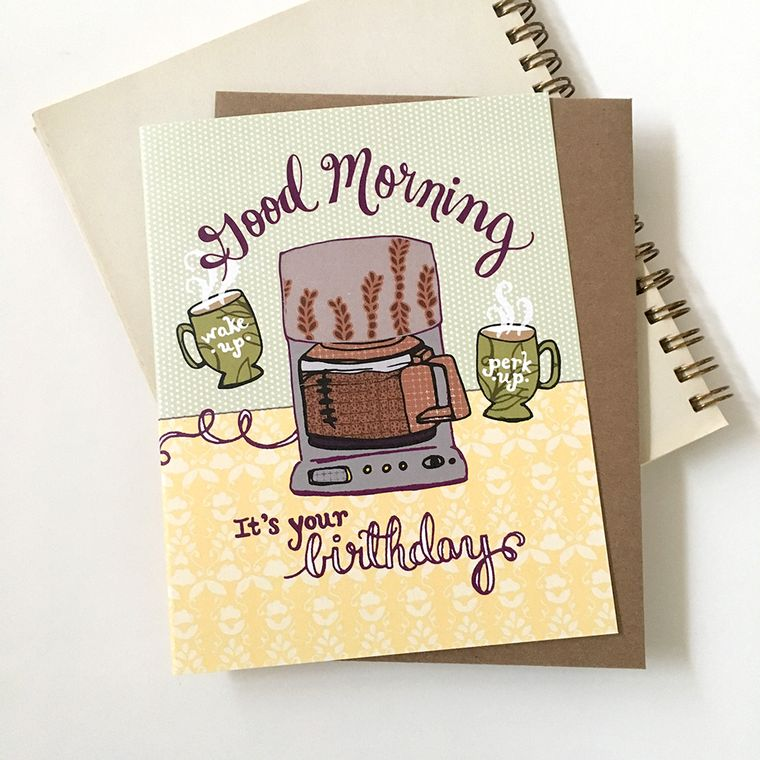 Coffee Pot Birthday Card - blank inside, coffee card