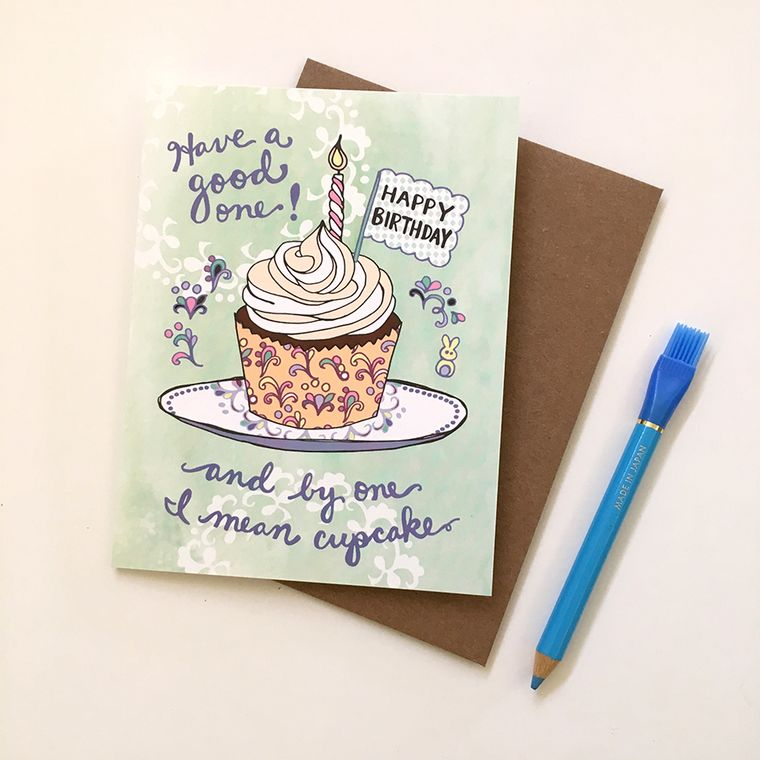 Cupcake Birthday Card - Cupcake card, happy birthday card