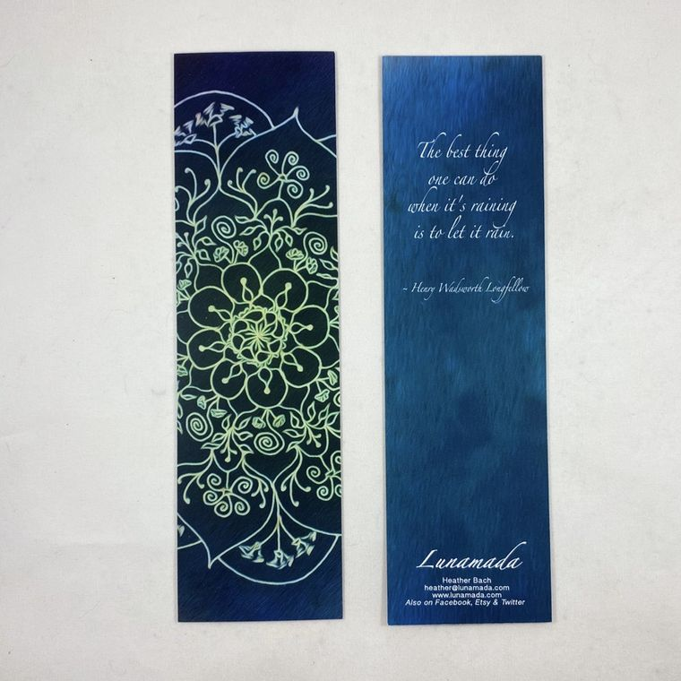 Blue Longfellow Mandala Bookmark 7""