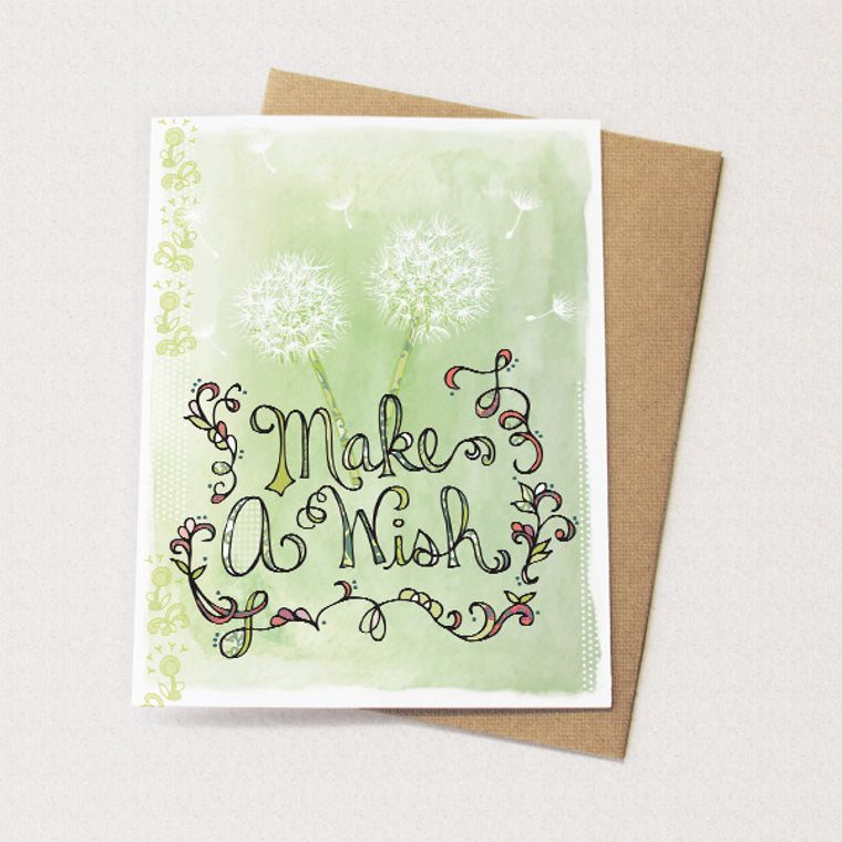 Dandelion Card - Make a Wish, Blank card for birthday