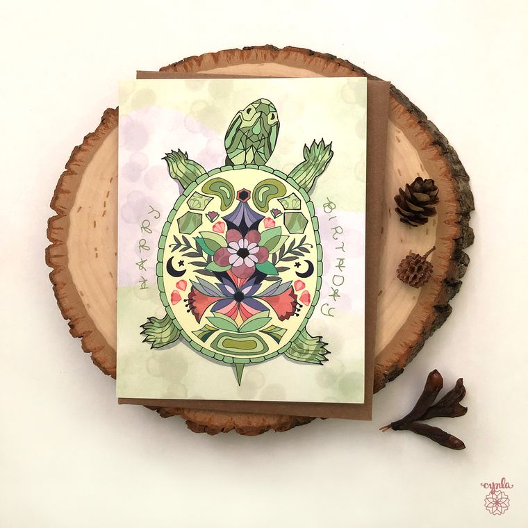 Turtle Birthday Greeting Card - pond turtle greeting cards, birthday cards, happy birthday box turtle floral